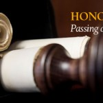 Photo of scrolls. Text reads: Honors Program, Passing of the Scrolls, Augsburg College