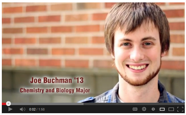 Joe Buchman '13. Chemistry and Biology Major