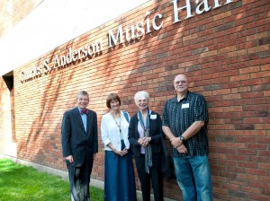 Paul Pribbenow, Kristen Anderson, and two guests stand outside of the music hall