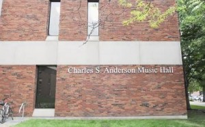"""Exterior of music building bearing the words """"Charles S. Anderson Music Hall"""""""