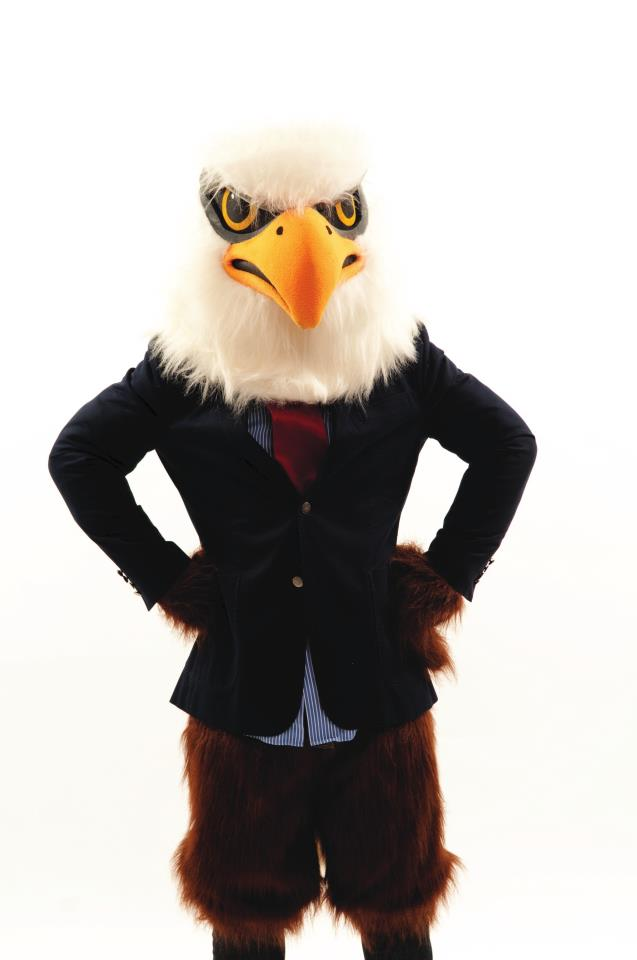 Auggie the Eagle wearing a suit jacket and tie