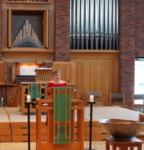 Allison Zank delivers homily in Hoversten Chapel