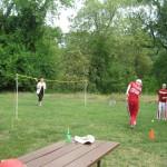 Christian and Andrea Shada vs Grant and Karin Jordahl playing badminton.