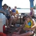 group on a pontoon boat