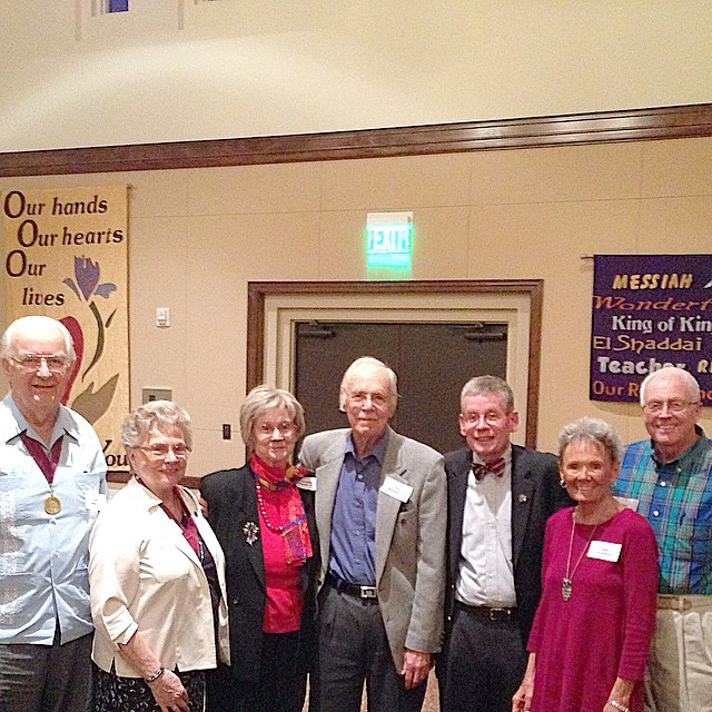 In February, Auggies gathered in Arizona at La Casa De Cristo Church with the Centennial Singers. Augsburg President Paul Pribbenow, Neal '57 and Judy '61 Snider, Arne '49 and Jean '52 Markland, and Paul '63 and Linda Stromberg.