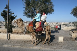 Riding a camel on the Mount of Olives in 2012.