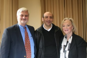 Phil Quanbeck, Dr. Mitri Raheb and Ruth Johnson, in Bethlehem, 2012.  Mitri will meet with us again in 2016.