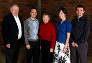 2011 scholarship brunch photo, (from left) Martin Sabo, Juventino Meza Rodriguez, Sylvia Sabo, Renee Van Siclen, and Ben Krouse-Gagne for the Martin Olav and Sylvia Lee Sabo Scholarship for Leadership in Public and Community Service.