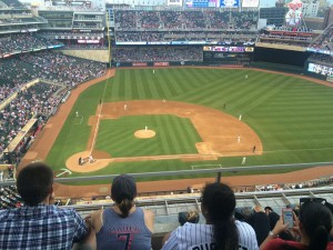 crowd watching a game at Target Field