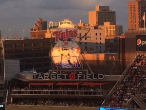 View of the Twins sign above Target Field