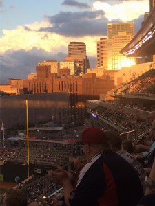 View of buildings in sunset at Target Field