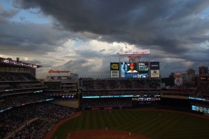 View of clouds above Target field