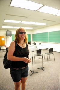2001 music major, Merry-Ellen Krcil Bryers, a.k.a Melon, visits a music classroom.