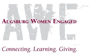 Logo: Augsburg Women Engaged (AWE) - Connecting. Learning. Giving.