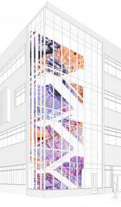 "Greta McLain ""Interwoven"" Mural with traditional geometric textile patterning representing symbiosis, prayer, connectedness."