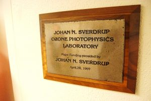 Picture of a plaque situated outside the Johan N. Sverdrup Ozone Photophysics Laboratory