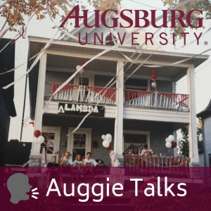 Traditional Augsburg house decorated for 1992 Homecoming