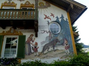 The mural covered buildings of Oberammergau.