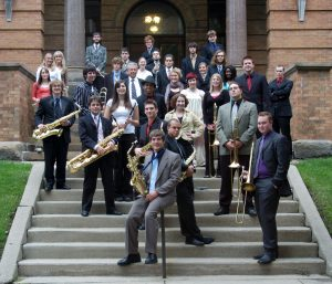 jazz band ensemble on the steps of old main