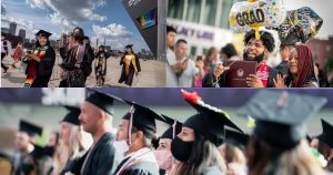 A collage of three photos. The upper left photos consist of graduates walking in their caps and gowns outside, one of them is waving. The upper right photo shows a man with his diploma holder and balloons. He is smiling with a woman to his right. The bottom photo shows a row of graduates standing in front of their seats, all of them are masked.