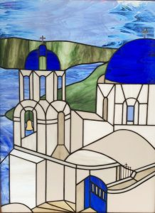 Stained glass piece of Santorini, Greece.