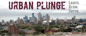 URBAN PLUNGE: Learn. Grow. Serve. Image of Minneapolis cityscape.