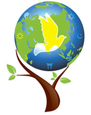 Image of a globe with a dove in a tree to symbolize interfaith work