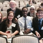 Emilie Tomas '19, Bishop Mark Hanson '68, Mohamud Mohamed '19, Fardosa Hassan '12, and Chuill Lip '18