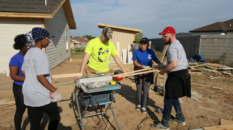 Students working at Habitat for Humanity