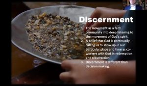 Discernment. The image of a hands panning for treasure among rocks.