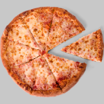 overhead image of cheese pizza