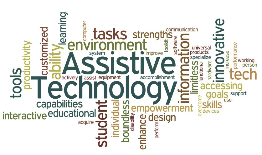 Visual compiling of following words in artistic way: Assistive, Technology, computer, individual, empowerment, specialize, tasks, tools, environment, student, interactive, person, toolkit, universal, working, accessing, overcome, improve, skills, strengths, equipment, software, enhance, performance, perform, actively, acquire, accomplishment, use, communication, educational, tech, disability, ability, innovative, goals, increase, productivity, learning, design, customized, system, information, capabilities, products, boundless, assist, limitless, support, functional, hardware, and devices