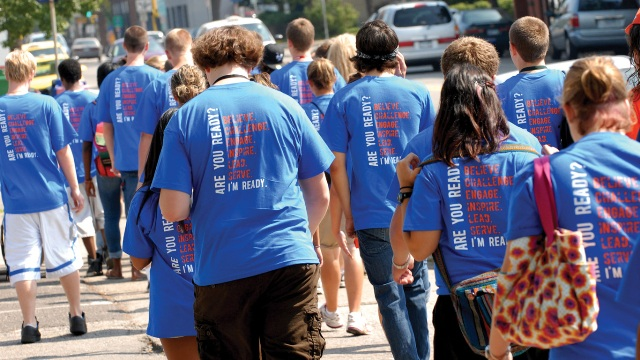 "Photo of orientation students in t-shirts that say, ""Are you ready? I'm ready."""