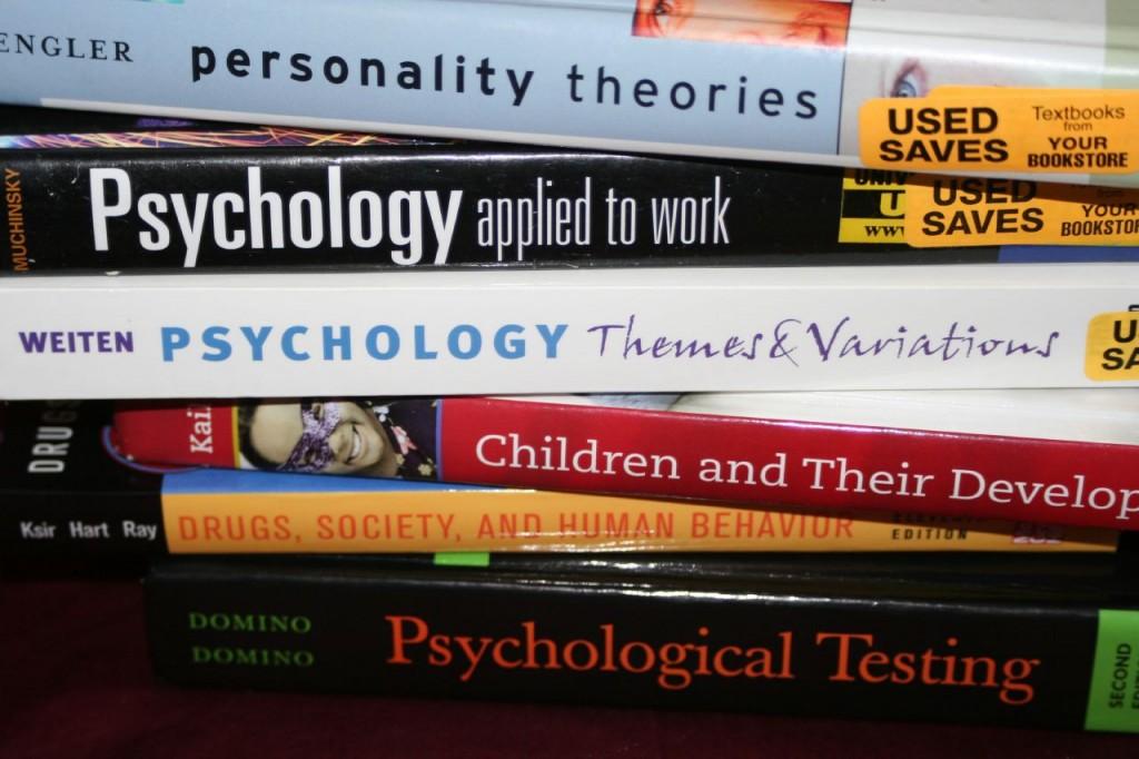 Pile of six Psychology Textbooks