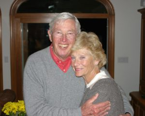 James and Sally Dowdle smile and embrace each other