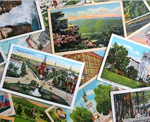 A pile of several postcards.
