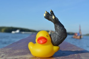 Photograph of a rubber duck with a dinosaur arm coming out of it's right side.