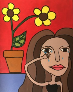 Painting of a girl crying with flowers.