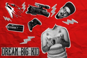 "Photo collage of Ricky with a caption: ""Dream Big Kid""."