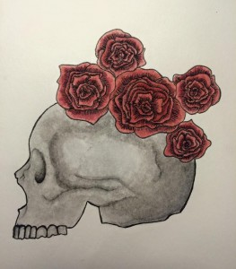 Drawing of a skull with five red roses on top.