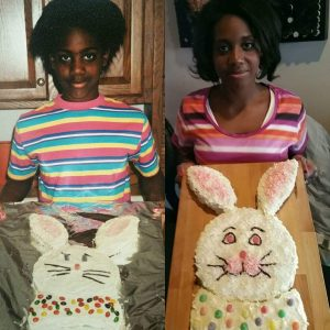 Thenedra as a kid with a bunny cake, then as an adult with the same type of cake.