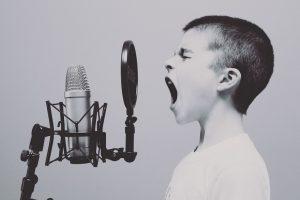 Child singing.