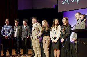 Photo of (left to right) Matt R., Christian J., Isaac H., Neil O., Audrey C., Sarah M, Maggie H., Ian C.