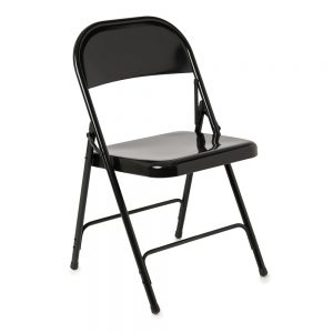 black metal folding chair photo