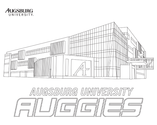 Coloring book image of Hagfors Center with words Augsburg University Auggies underneath