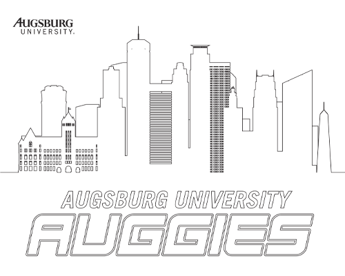 Coloring page of Minneapolis skyline with words Augsburg University Auggies underneath