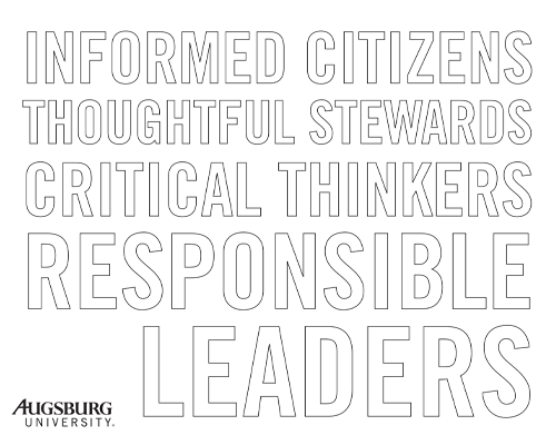 Coloring page of words: Informed Citizens Thoughtful Stewards Critical Thinkers Responsible Leaders