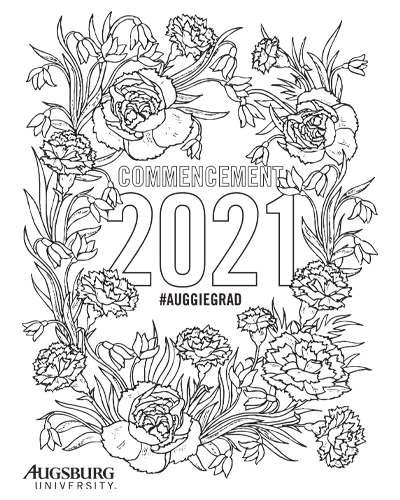 Coloring page with flower frame around Commencement 2021 #AuggieGrad
