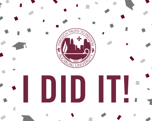 Augsburg University seal with I Did It!