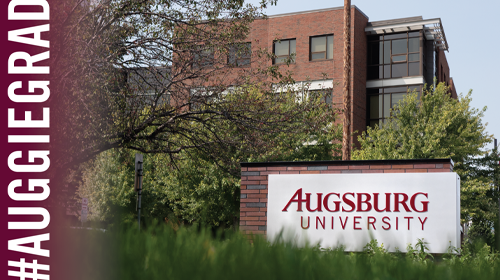 Zoom background with #AuggieGrad and photo of Augsburg University